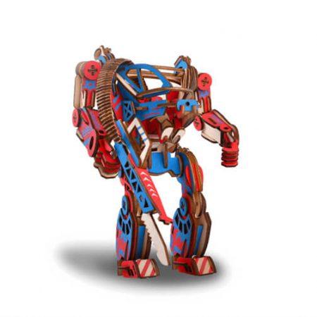 wooden 3d robot puzzle