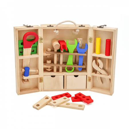 wooden tool chest toy