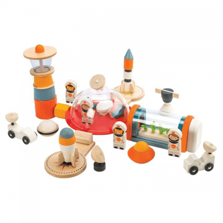 wooden space station toy