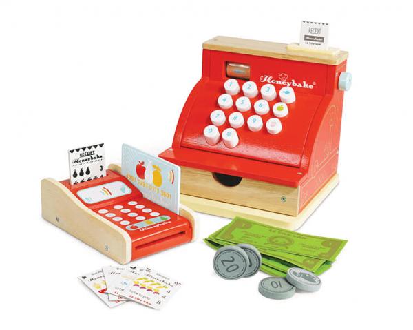 wooden cash register set