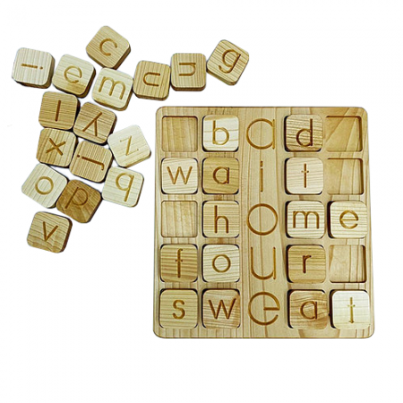 wooden alphabet tiles and tray educational toy