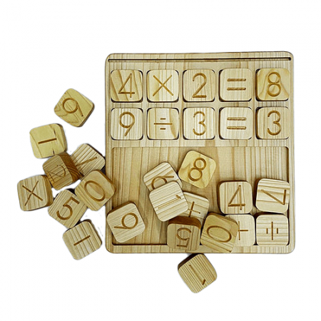 wooden number tiles and tray educational toy