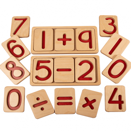 wooden number tiles with tray