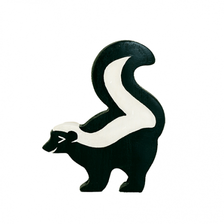 wooden skunk animal toy