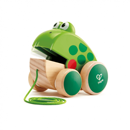 wooden frog pull along toy
