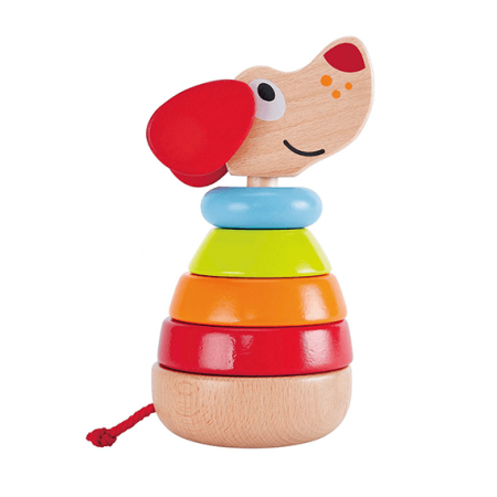 wooden dog stacking toy