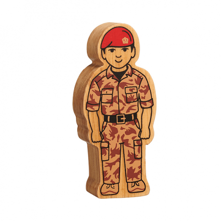 wooden army officer figure toy